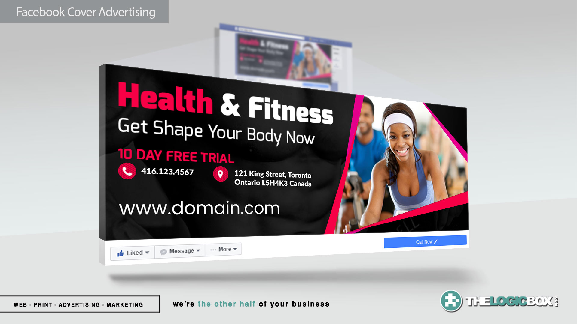 Facebook Cover Banners & Advertisement Mockup PSDs Fitness - Digital Marketing Toronto | The Logic Box