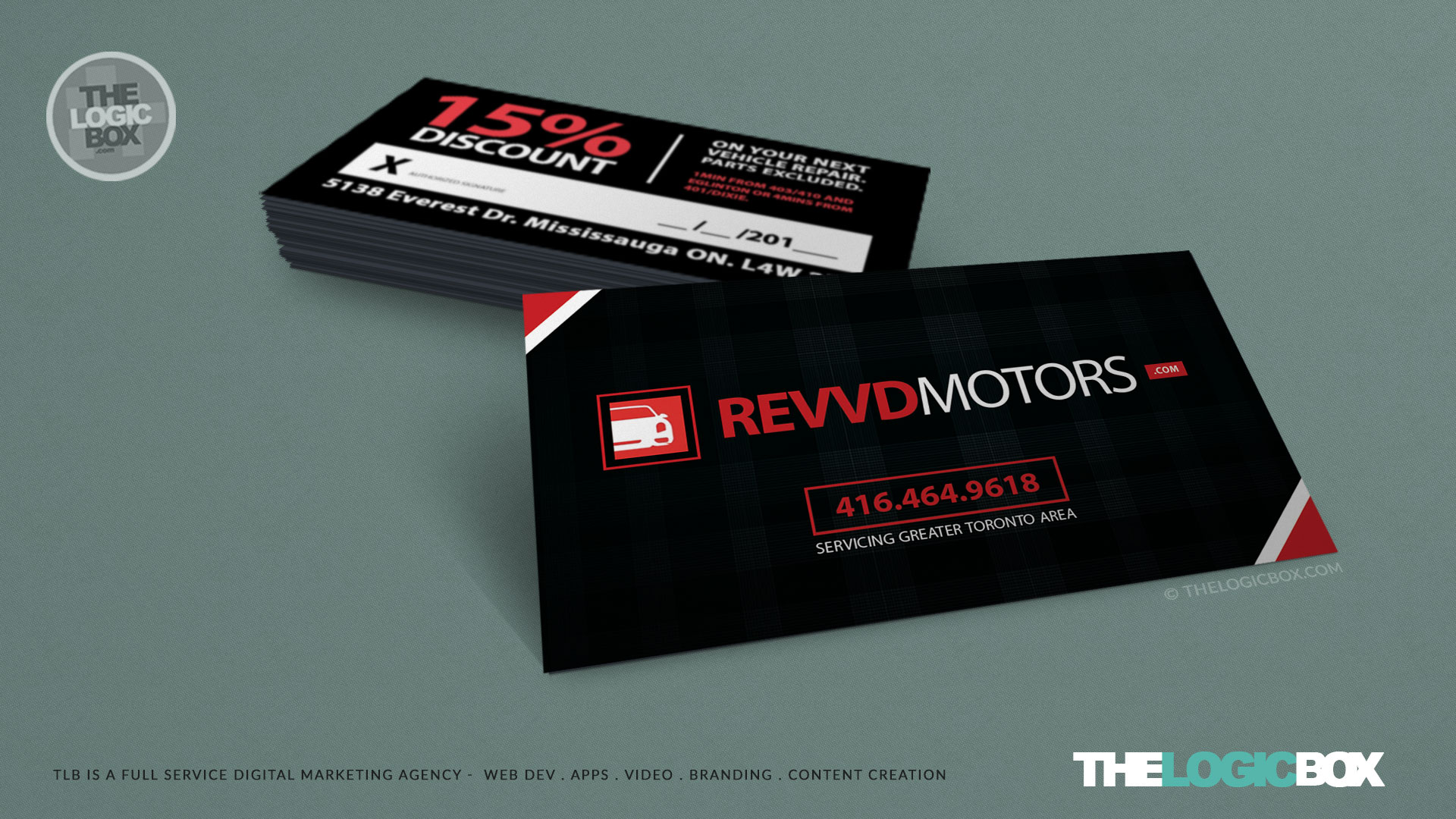 Logo business card design revvd motors auto repair web design mississauga oakville burlington brand advertising colourmoves